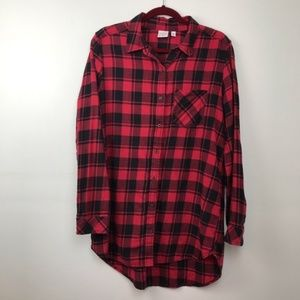 BP Red and Black Plaid Button Down Tunic E906